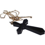 REDUCED Victorian Jet Mourning Cross & Chain