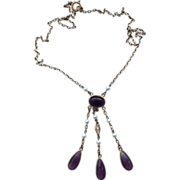 REDUCED Vintage Amethyst Glass & Pearl  Brass Necklace