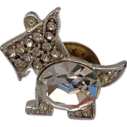 Vintage Silver Tone Crystal Rhinestone Scottie Dog Lapel Pin