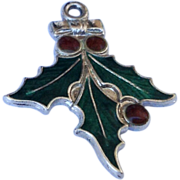 REDUCED Vintage  Sterling Silver Enamel Christmas Holly Charm