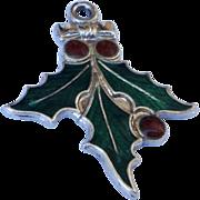 SALE Vintage  Sterling Silver Enamel Christmas Holly Charm