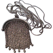 REDUCED Victorian Sterling Silver Chatelaine Mesh Purse & Lorgnette/Watch Chain