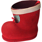 Vintage Red Cardboard Flocked Santa Boot