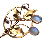 REDUCED Vintage 14 K Gold 4 Carat Cabochon Moonstone Sapphire Brooch