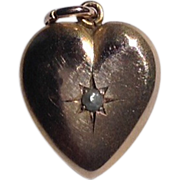 REDUCED Vintage 10 K Gold Heart Pendant Charm
