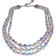 Vintage 3 Strand AB  Crystal Necklace