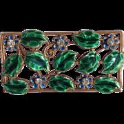 SALE Vintage Gold Tone Enameled Floral Brooch