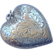 REDUCED Vintage Sterling Silver Extra Large Puffy Heart Pendant Charm