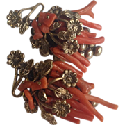 REDUCED Vintage Hand Wired Branch Coral Earrings
