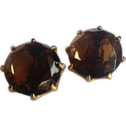 REDUCED Vintage Gold Tone Faux Smokey Topaz Earrings
