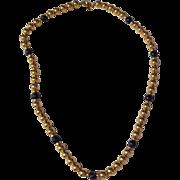 Vintage  12 K Gold Filled & Lapis Bead Necklace