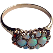 REDUCED Victorian 14 K Gold Opal Garnet & Pearl Ring