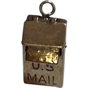 Vintage Sterling Silver U. S Mail Box Mechanical Charm