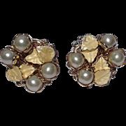 VIntage Gold Tone Metal Faux  Pearl Earrings