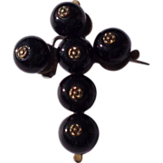 Early  Victorian Black Bead Mourning Cross