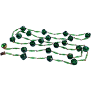 REDUCED Vintage West Germany Emerald Green Faceted Bead Necklace