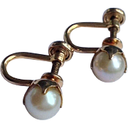 Vintage 12 K Gold Filled Cultured Pearl Earrings