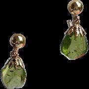 Vintage  12K Gold Filled Molded Green Plastic Earrings