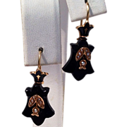 REDUCED Victorian 14 K Gold  Black Jet Seed Pearl Earrings