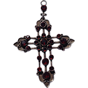 REDUCED Vintage Sterling Silver Genuine Cabochon Garnet Cross Pendant