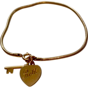 REDUCED Vintage Forstier 12 K Gold Filled Key To My Heart Bracelet