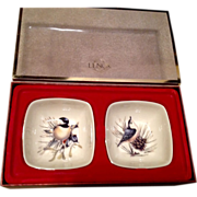Vintage Set Of Two Lenox  Winter Greetings Dipping Bowls