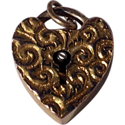 Vintage Gold Filled Repousse Heart Lock Charm