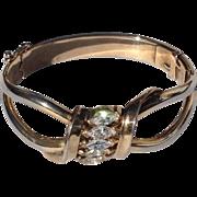 Vintage Gold Filled Trifari Rhinestone Hinged Bangle Bracelet
