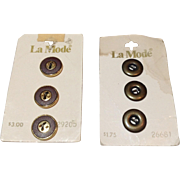 Two Sets Of La Mode Buttons On Original Cards Made In West Germany Made In Italy