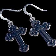 Vintage Estate Sterling Silver Cross Earrings