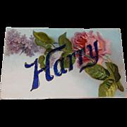 Vintage Embossed Floral Postcard
