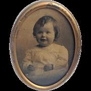 Vintage Oval Gold Leaf Metal Picture Frame