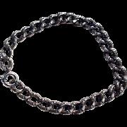 Victorian Sterling Silver Repousse Link Charm Bracelet