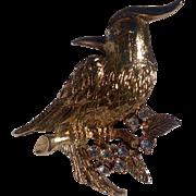 Vintage Costume Gold Tone Rhinestone Bird Brooch