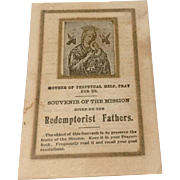 Vintage Souvenir Of The Mission Redemptorist Fathers