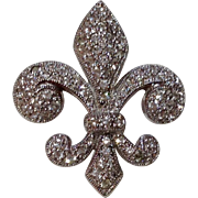 REDUCED Vintage Sterling Silver Swarovski Crystal Fleur d Lis Brooch Pendant