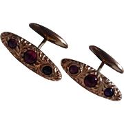 Vintage Gold Filled Rhinestone Cuff Links