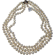 Vintage Triple Strand Cultured Freshwater Potato Shaped Pearl Necklace