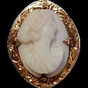 Vintage 14 K Gold Angel Skin Cameo Brooch Pendant