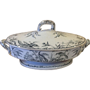 Victorian Black And White Transferware Indus Tureen 1885