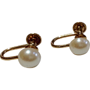 Vintage 1/20 12 K Gold Filled Faux Pearl Earrings