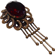 Vintage Brass Ruby Red Stone Dress Clip