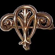 Art Nouveau 14 K Gold Watch Pin