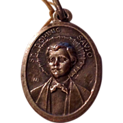 Vintage Silver Tone Metal St Dominic Savio Medal