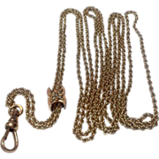 REDUCED Victorian Gold Filled Slide Chain With 10 K Gold & Seed Pearl Slide