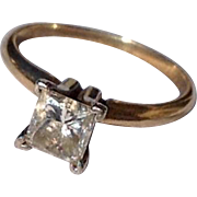 Vintage 14 K Gold  1.01 Carat Diamond  Engagement Ring
