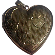 Vintage Gold Filled Heart Double Photo Locket