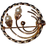 Vintage Gold Filled  Faux Pearl Brooch Or Pin