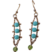 REDUCED Vintage Gold Filed Turquoise Glass Dangle Earrings