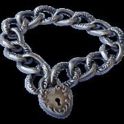 Vintage Sterling Silver Fancy Link Charm Bracelet